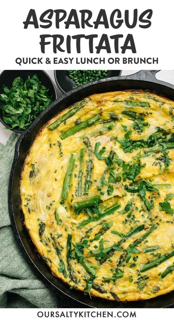 Pinterest image for an asparagus frittata recipe.