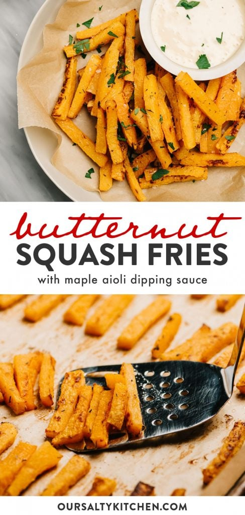 Pinterest collage for butternut squash fries recipe.