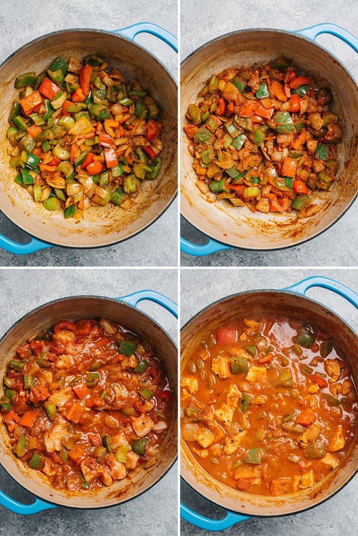Four photos to show how to sauté the vegetables and make the base in a dutch oven