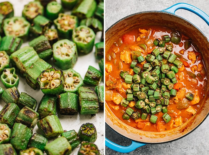 The cooked okra being added to the pot