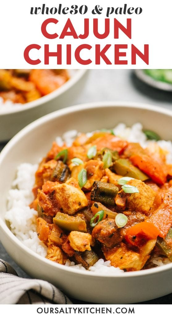 Pinterest image for a whole30 and paleo cajun chicken recipe.