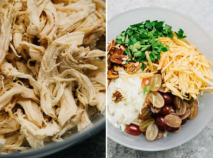 Shredded chicken in a bowl, and the ingredients for chicken salad with apples in a mixing bowl.