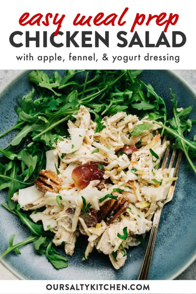 Pinterest image for a chicken salad recipe with apple and tangy yogurt dressing.