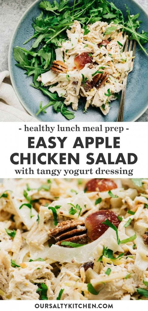 Pinterest collage for a chicken salad recipe with apple and tangy yogurt dressing.