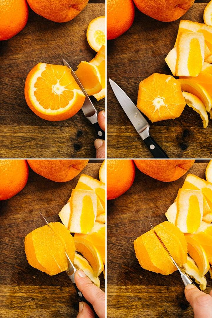 A collage showing how to section orange supremes.