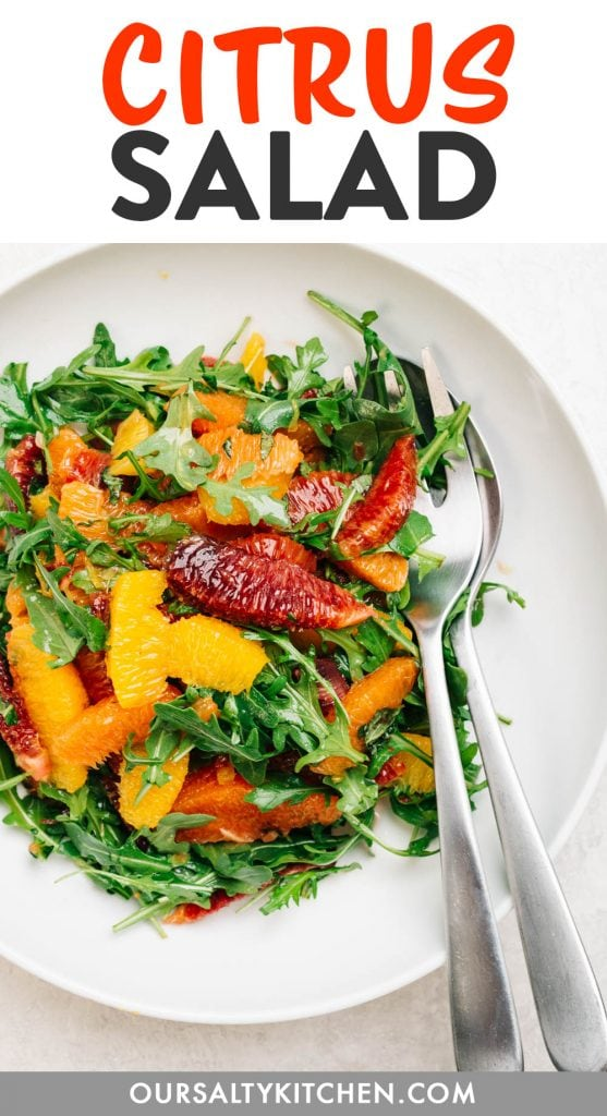 Pinterest image for a citrus salad recipe.