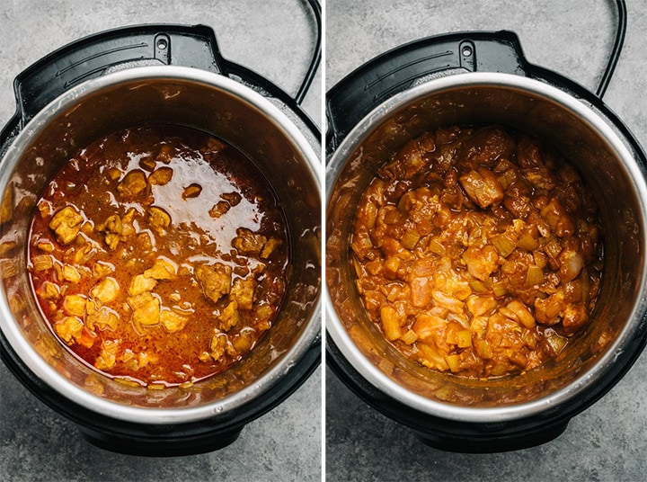 Before and after cooking the chicken curry on high pressure in the Instant Pot
