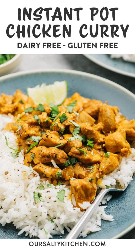 Pinterest image for an instant pot chicken curry recipe.