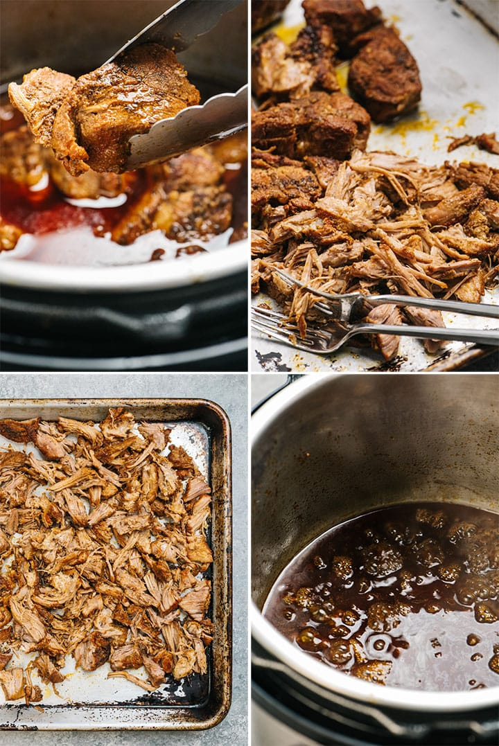 A collage showing how to make instant pot pulled pork.