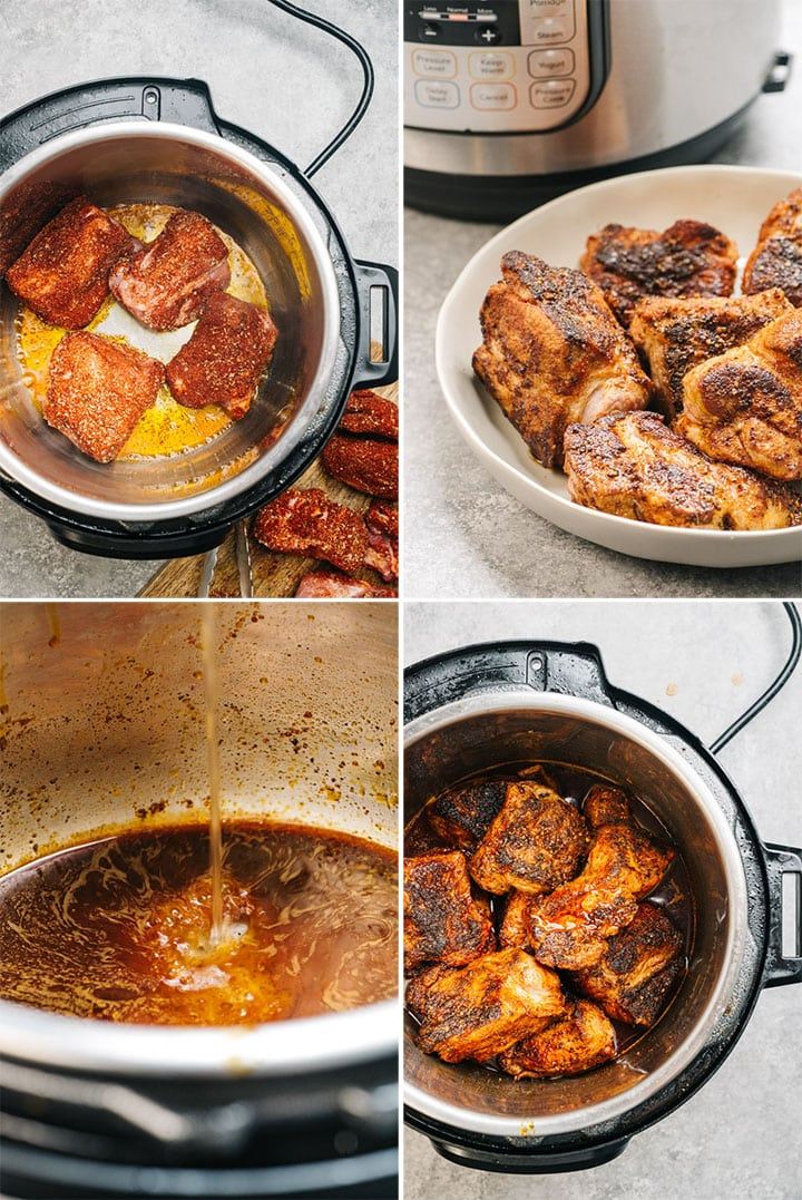 Four images showing how to sear pork shoulder in the instant pot.