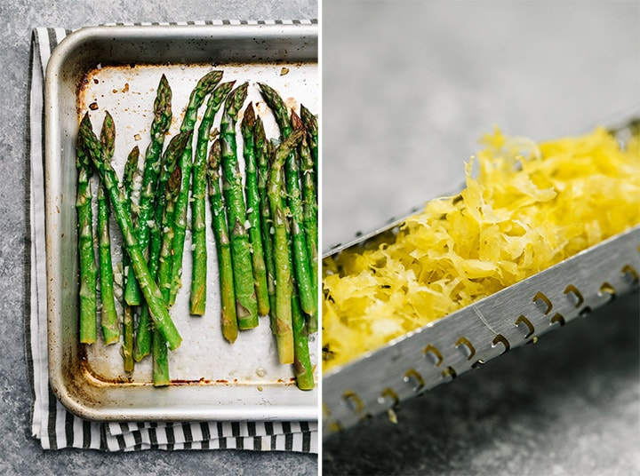 A microplane filled with lemon zest and a baking sheet of oven roasted asparagus with lemon and garlic.
