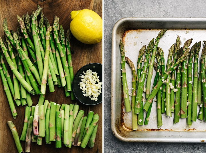 The ingredients for lemon garlic asparagus on a cutting board; asparagus with garlic, olive oil, and lemon juice on a baking sheet.
