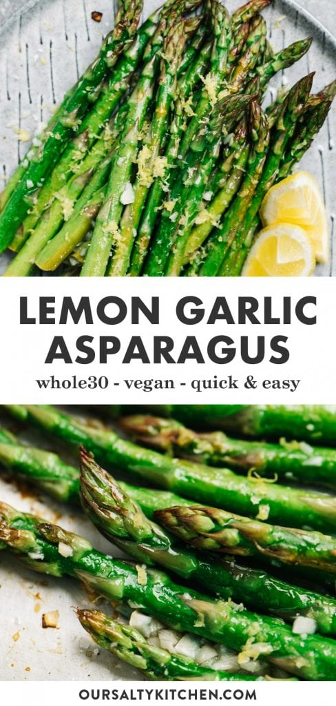 Pinterest collage for a lemon garlic asparagus recipe.