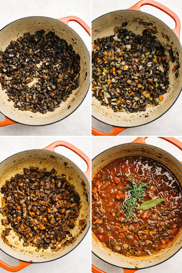 Four shots to show the bolognese being made in a pot