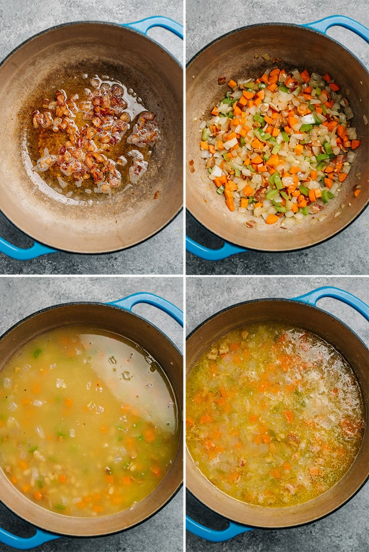 Four shots to show how to make the soup in a dutch oven