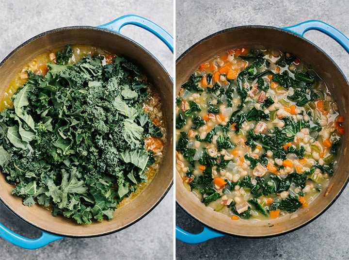 Kale being added to the soup