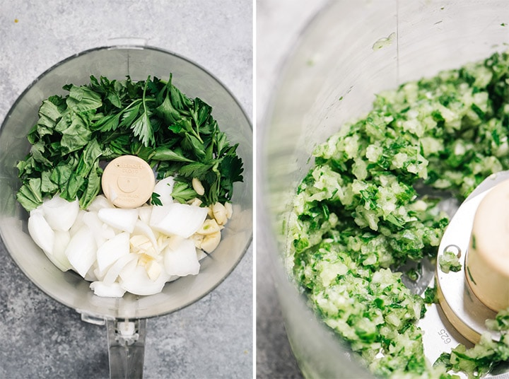 Herbs and onion in a food procesor before and after blending