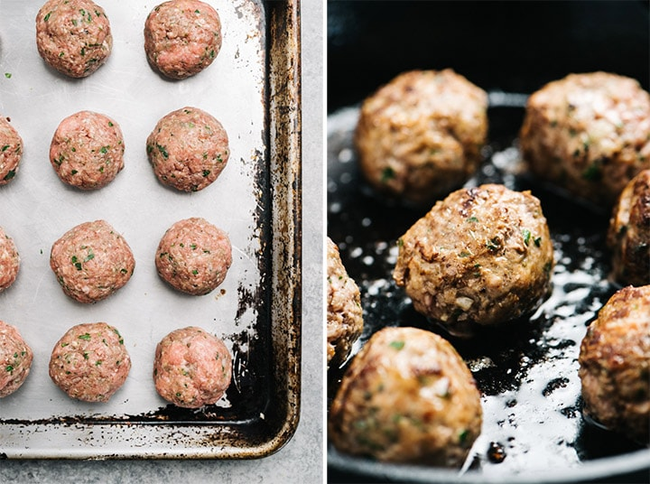 The whole30 meatballs before and after browning