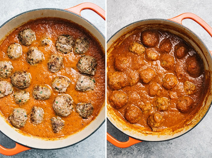 The Italian meatballs being cooked in marinara sauce