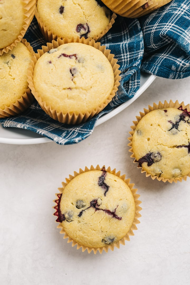 Cornbread muffins with blueberries scattered on a cement surface.