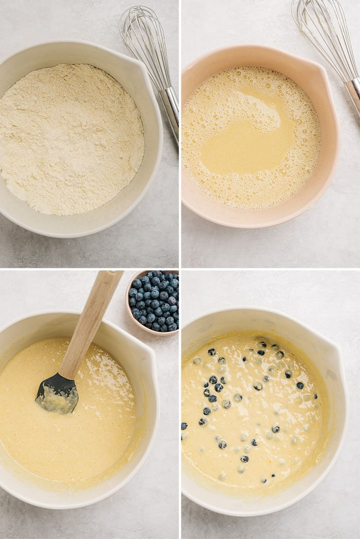 A collage showing how step by step instructions for how to make cornbread muffins with blueberries.