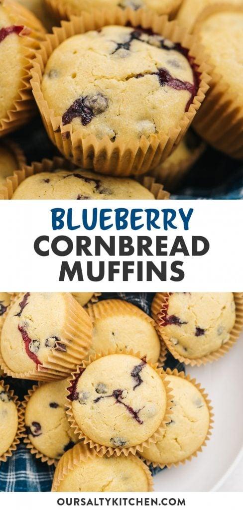Pinterest collage for a blueberry cornbread muffin recipe.