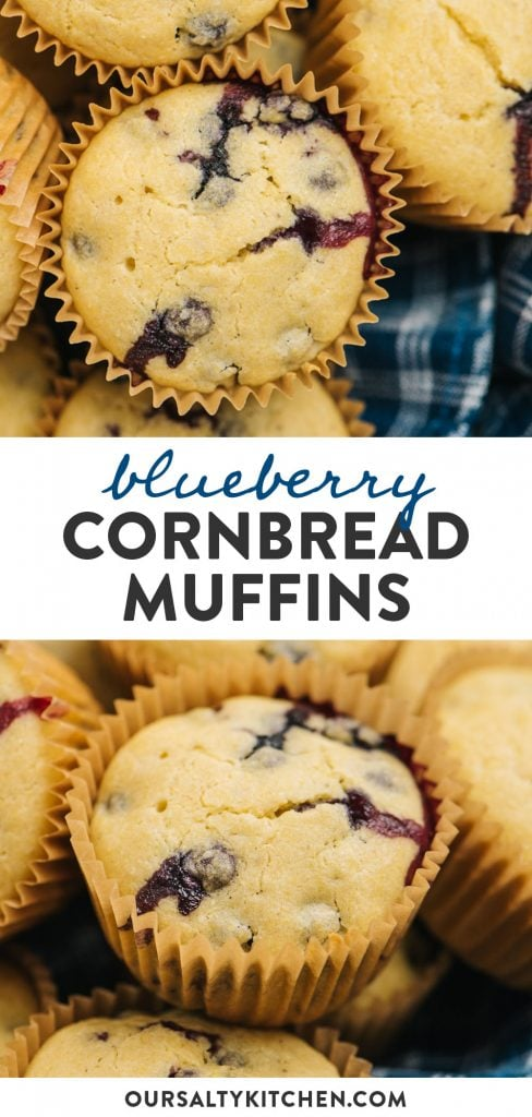 Pinterest collage for a cornbread muffin recipe with blueberries.