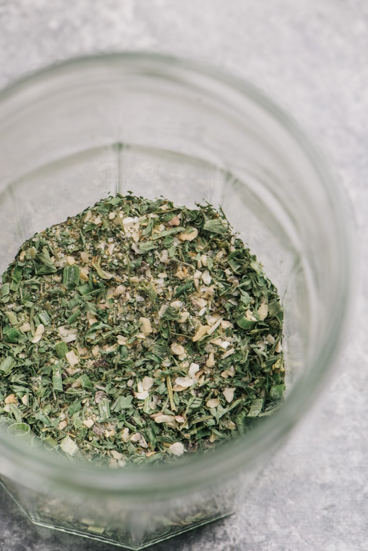 Dry ranch seasoning in a small jar.