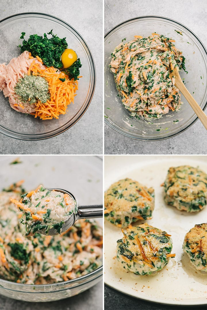 A collage showing how to make ranch seasoned chicken meatballs.