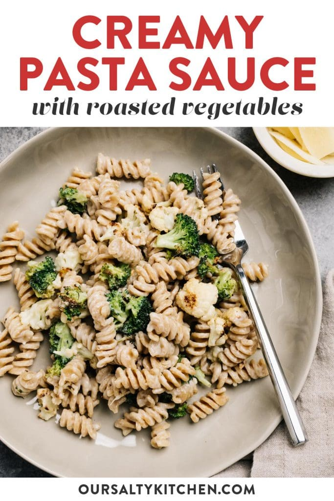 Pinterest image for creamy pasta sauce recipe with roasted vegetables.