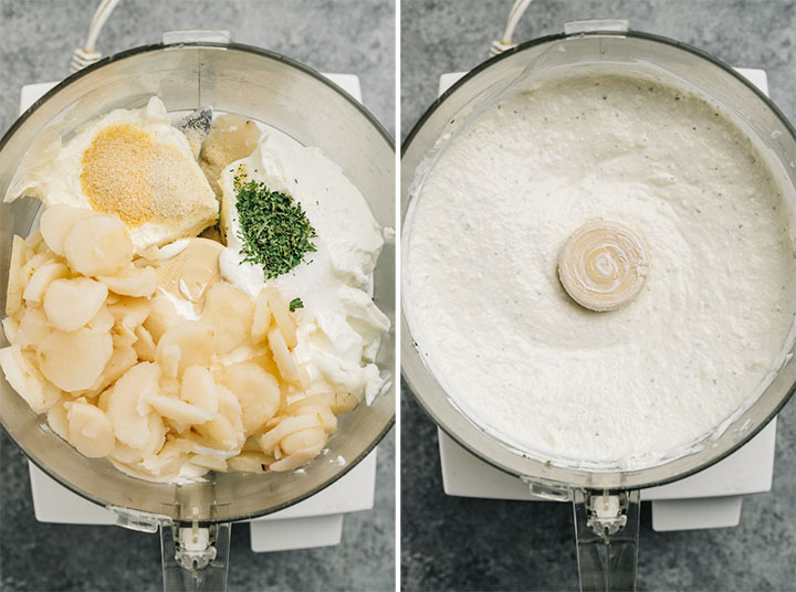 Cream cheese, greek yogurt, water chestnuts and seasonings in the bowl of a food processor before and after being blended.