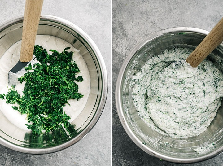 Two images showing how to fold frozen and defrosted spinach into a creamy healthy dip.