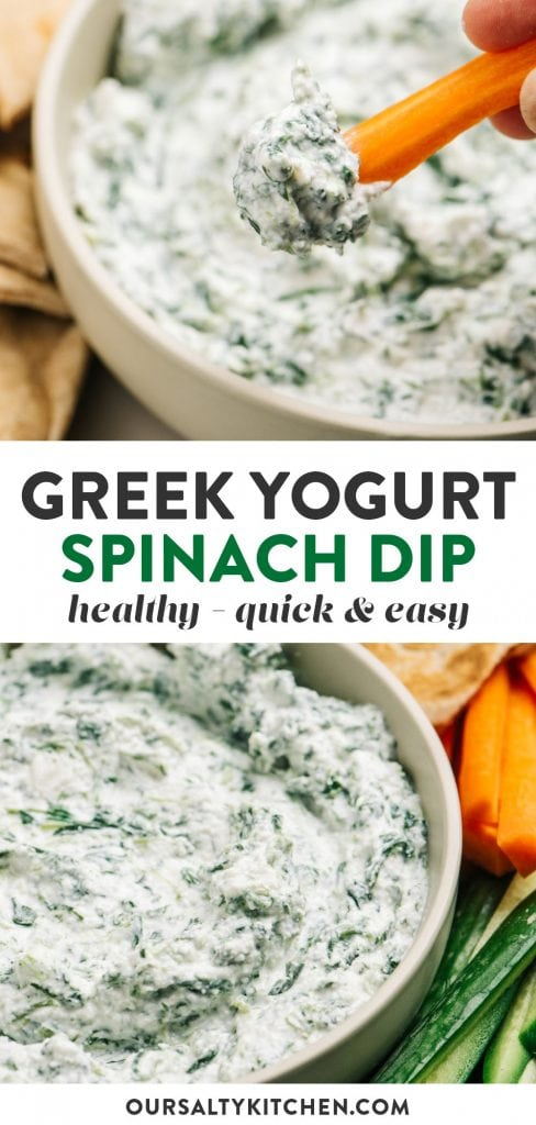Pinterest collage for a greek yogurt spinach dip recipe.