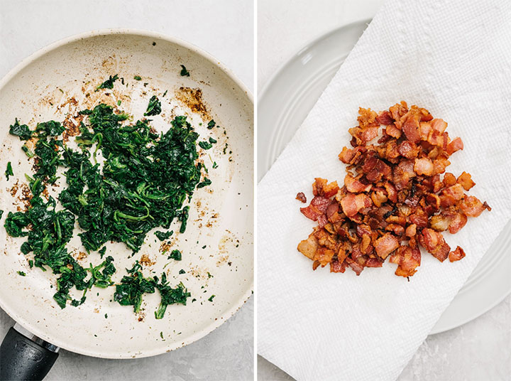 Sautee spinach in a skillet; crumbled bacon on a paper towel lined plate.