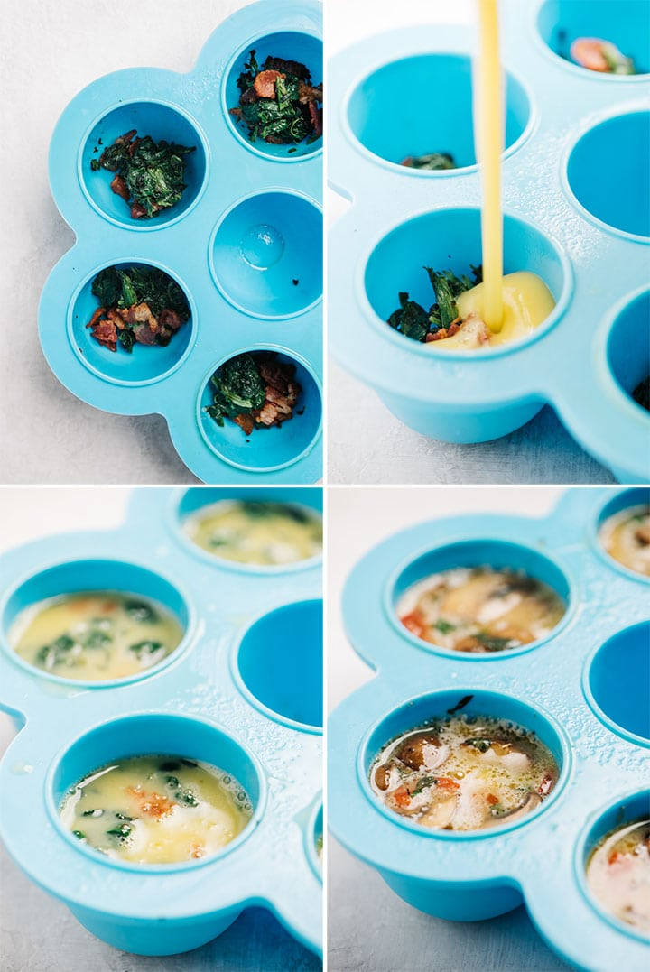 A collage showing how to layer vegetables and egg mixture into silicone egg molds.