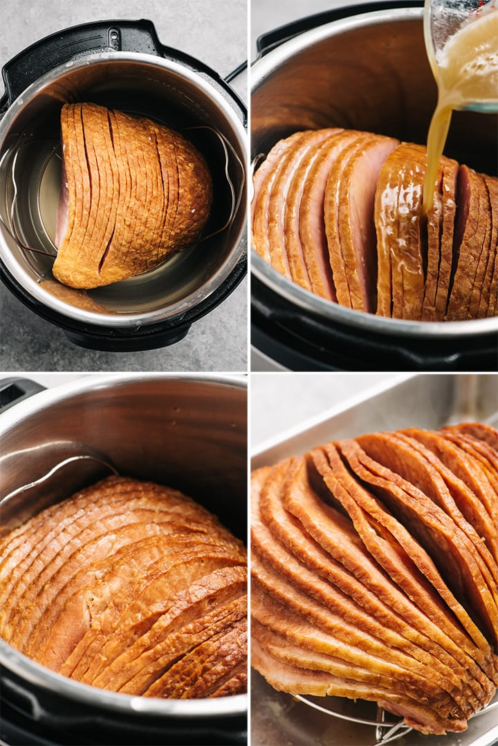 Four images showing how to cook a spiral ham in the instant pot.
