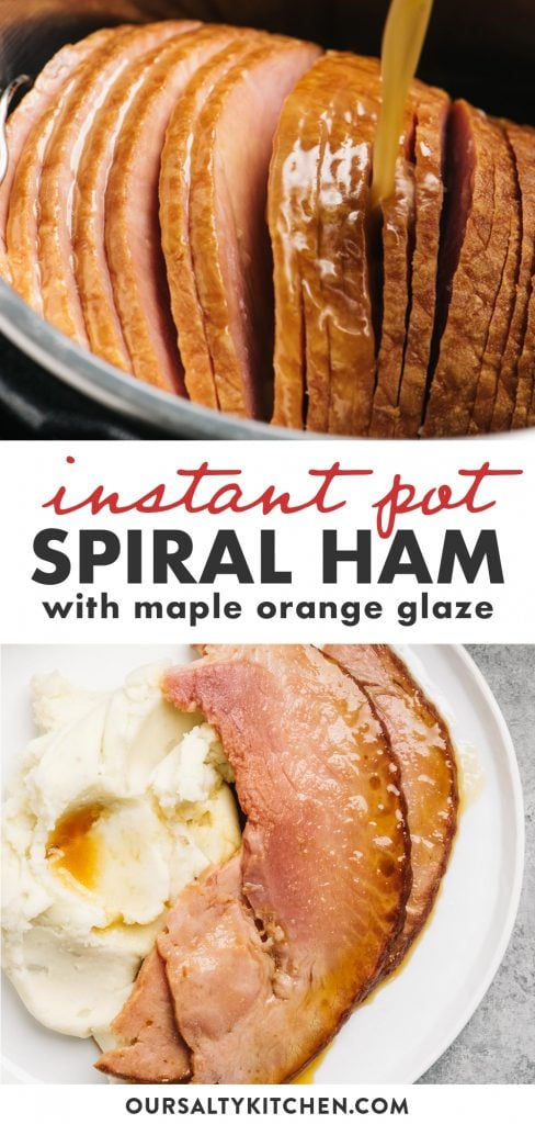 Pinterest collage for an instant pot ham recipe.