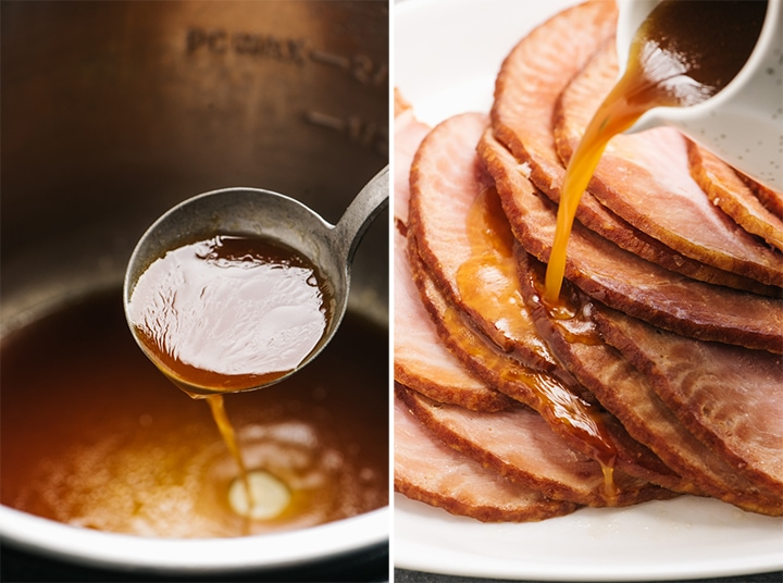 A ladle of maple orange glaze in an instant pot, and glaze being poured over ham slices.