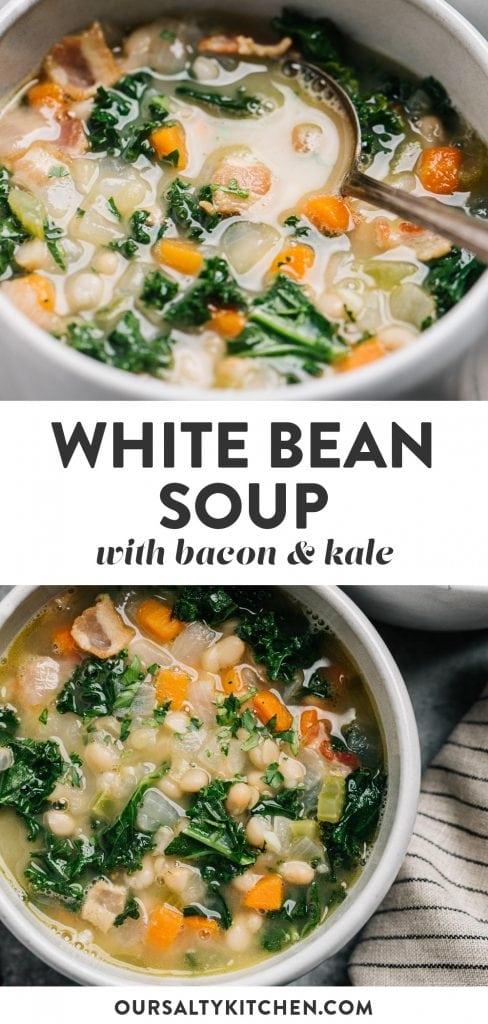 Pinterest collage for a white bean and kale soup recipe.