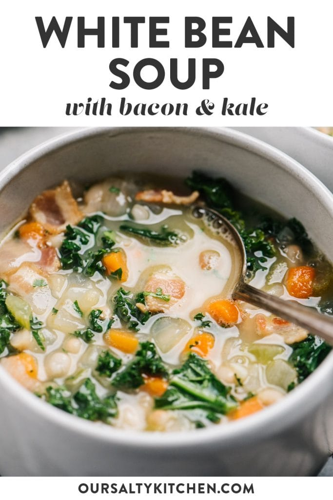 Pinterest image for white bean soup with bacon and kale.