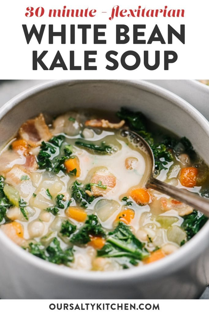Pinterest image for white bean kale soup with bacon.