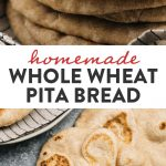 Pinterest collage for a whole wheat pita bread recipe.
