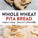 Pinterest collage for a homemade pita bread recipe made with whole wheat.