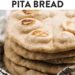 Pinterest image for a homemade pita bread recipe made with whole wheat.