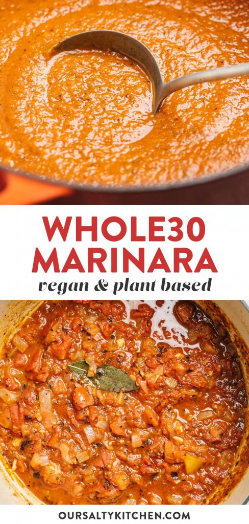 Pinterest collage for whole30 marinara sauce.