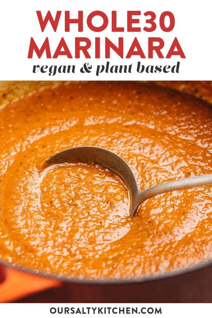 Pinterest image for plant based marinara sauce.