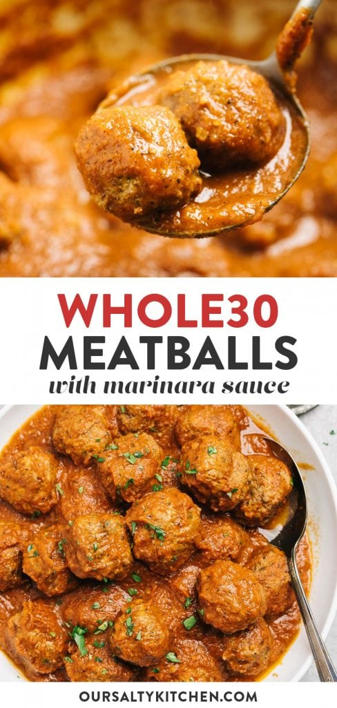 Pinterest collage for Whole30 meatballs recipe.