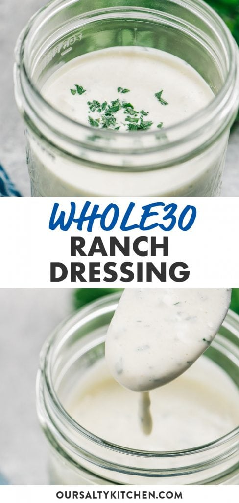 Pinterest collage for paleo and dairy free Ranch dressing.