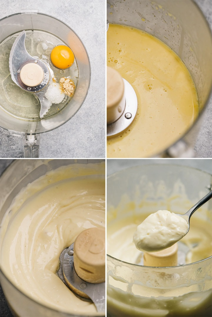 A collage showing how to make homemade Whole30 mayonnaise.