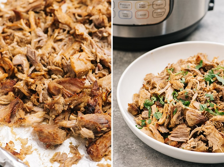 Crispy carnitas on a baking sheet, and in a bowl in front of an instant pot.